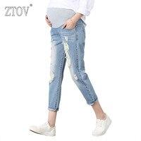 ZTOV Spodnie Ciążowe Dla Kobiet W Ciąży Ciąża Odzież Kombinezony Denim Jeans Wiosna Dziura Spodnie Brzuch Capris Legging Spodnie