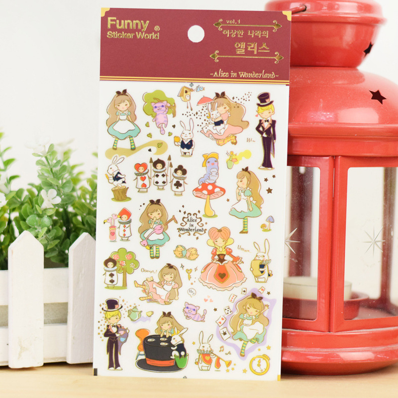 15 pcs Lot Funny sticker world Fairy tale Alice in Wonderland stickers decoration for diary album kids gift Stationery FT926 in Stationery Stickers from Office School Supplies
