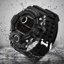 Купить с кэшбэком 2017 Military Electronic Wrist Watch Sport Top Brand Sanda Digital Wristwatches Men G Style Shock Watch Waterproof Shockproof