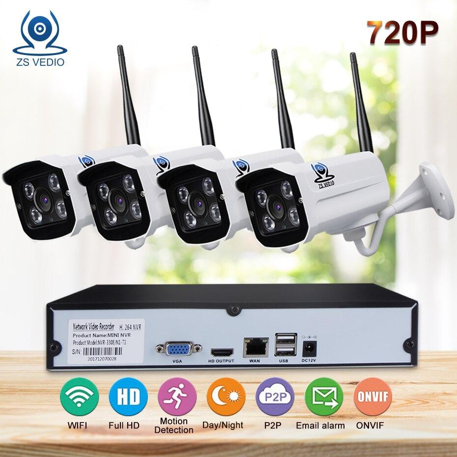 ZSVIDEO Surveillance System Security Camera wireless Home Outdoor Motion 720P Waterproof P2P Alarm NVR Kits Camera CCTV