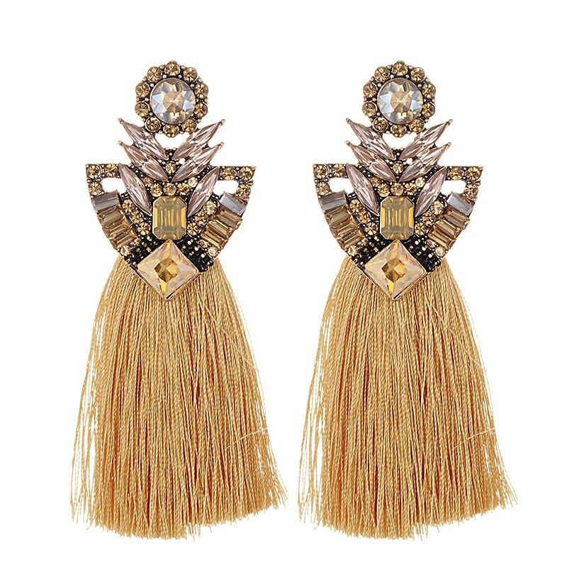 ZHINI Long Yellow Tassel Earrings Crystal Rhinestone korean Vintage Blue Big Flower Stud Earrings For Women Christmas earrings