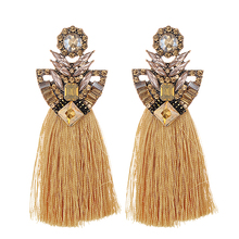 ZHINI Long Yellow Tassel Earrings Crystal Rhinestone korean Vintage Blue Big Flower Stud Earrings For Women Christmas earrings цена 2017