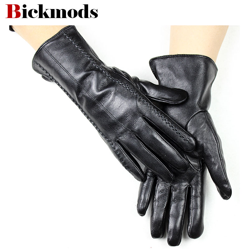 New Leather Gloves Women's Straight Style Velvet Lining Spring And Autumn Warm Natural Animal Leather Female Finger Gloves