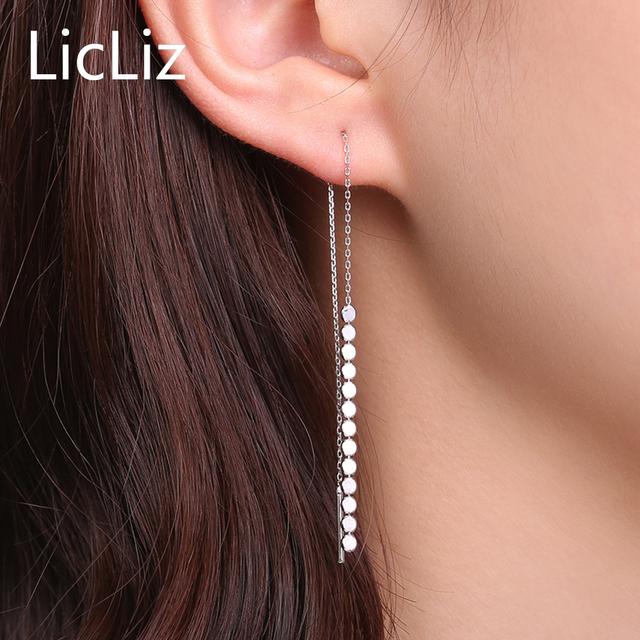 LicLiz Trendy Pure Silver Long Chain Link Earrings Dangle Women 925 Sterling Beaded Tassel Earrings Ear line Tread Drops LE0266
