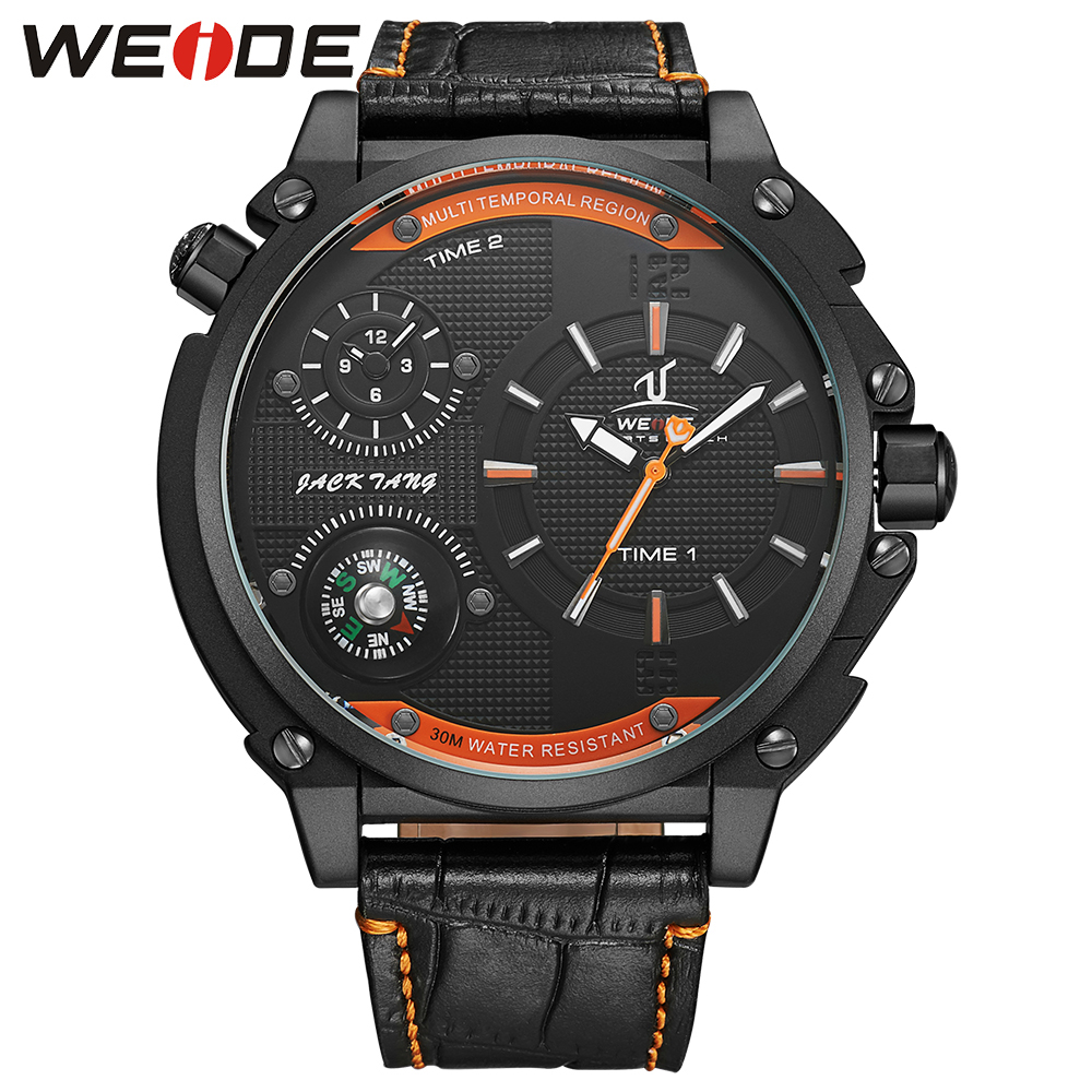 WEIDE Fashion Quartz Watch Men 30m Waterproof Dual Time Zone Black Orange Leather Watches Luxury Brand  Wristwatches Hot Clcok weide casual luxury genuin new watch men quartz digital date alarm waterproof clock relojes double display multiple time zone
