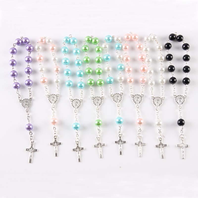 Religious Gifts Multi Colors Plastic Peach Heart Rosary Bracelet Children s Communion Baby s Bastism Favor