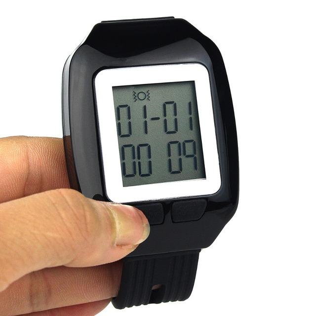 Relógio Pager Sistema de Chamada Sem Fio restaurante Receptor 433.92 MHz Pager Coaster Esperando Para O Hotel F3123A
