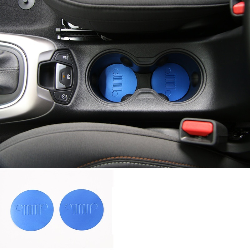 Image 4 - 2pcs Front Cup Water Holder Buttom Cover Trim Alloy Cup Pad For Jeep Compass 2017-in Car Anti-dirty Pad from Automobiles & Motorcycles
