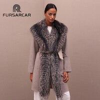 FURSARCAR натуральным мехом пальто Для женщин Роскошь кожи овец теплое пальто с длинные чернобурки меховой воротник новый стиль отличное качес
