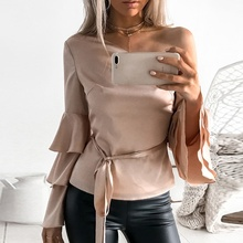 Women Autumn Off Shoulder Long Lotus Sleeve Shirts Loose Tops Festivals Classics Comfort Elegance Blouse
