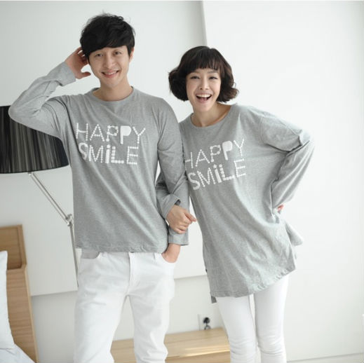 Lovely long sleeve korean matching couple shirts design ...