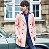 England Noble Mens Spring Fall Double Breasted Long Pink Trench Coat Men British Slim Fit Top