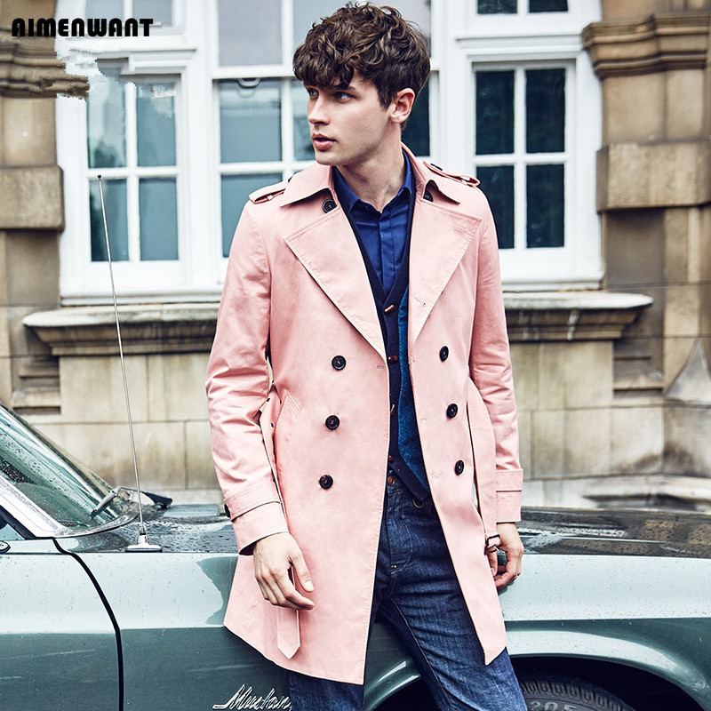Aimenwant 영국 고귀한 망 봄/가을 더블 브레스트 롱 핑크 트렌치 코트 남자 영국 최고 품질 trenchcoat 선물 오버 코트-에서트렌치부터 남성 의류 의  그룹 1