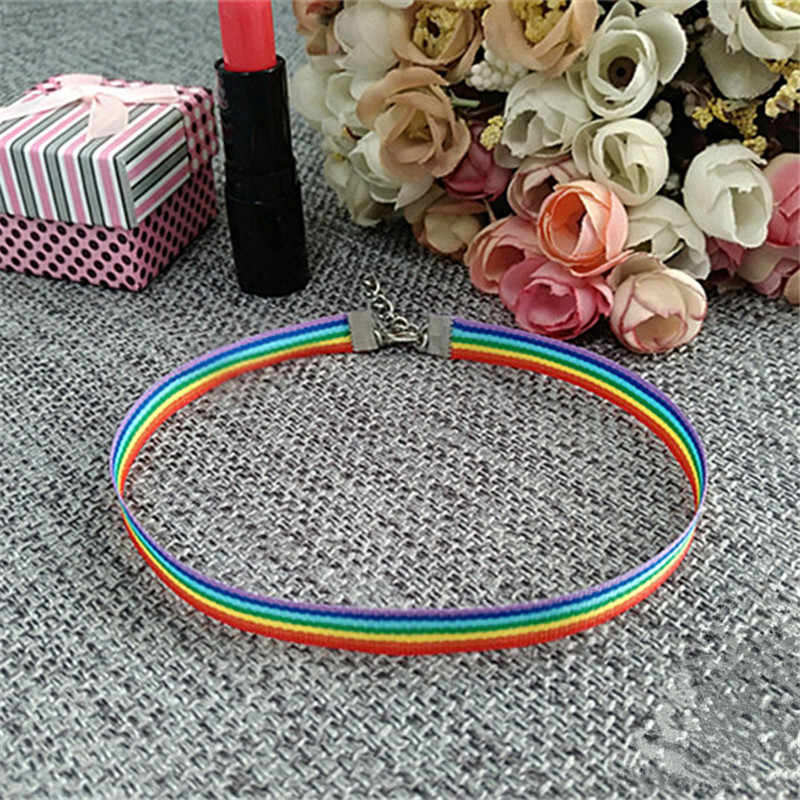 Fashion Colorful Rainbow Choker Necklace Set lavicle Chain Ribbon For Men Women Lesbian Bisexual Pride Jewelry Party Gift