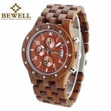 BEWELL Multifunctional Mens Watch Best brand luxury wood watches with gift box chronograph relogio masculino 109D