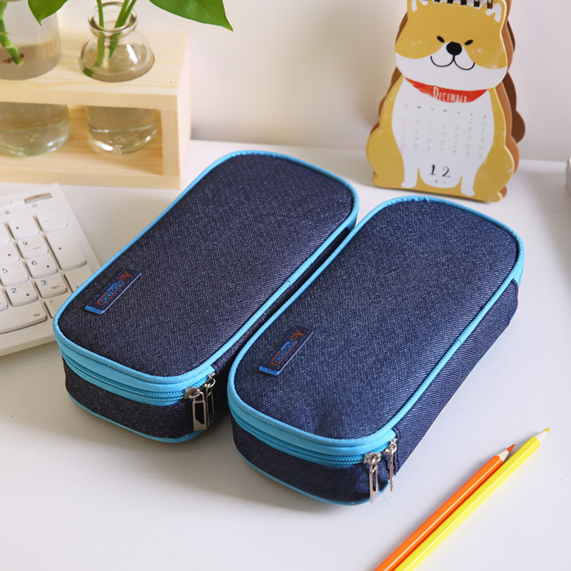 Korea Large Capacity School Pencil Case & Bags Multi-function Canvas Pen Curtain Box For Boy Students Gifts Stationery Supplies
