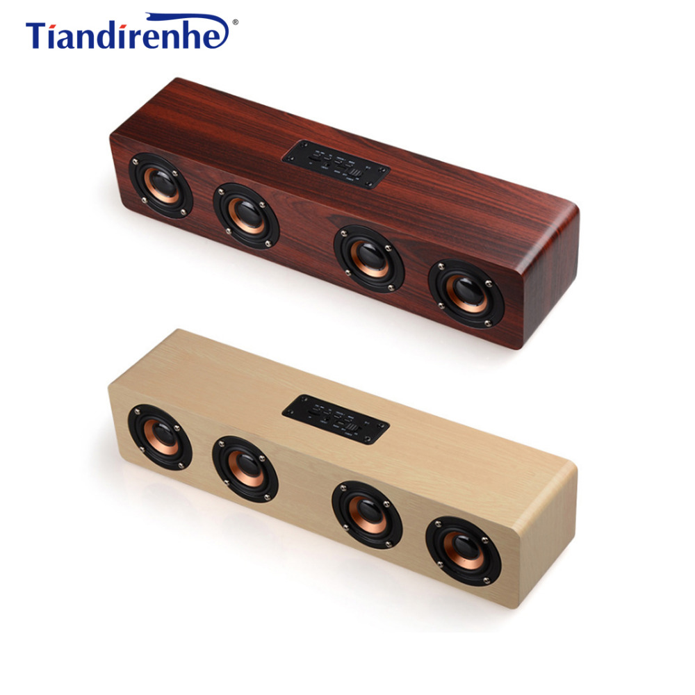 F6 Pro Wooden Speaker Bluetooth Wireless PC USB AUX TF Card 4 Speakers Stereo Bass Sound Box for Computer mp3 Android IOS tronsmart element t6 mini bluetooth speaker portable wireless speaker with 360 degree stereo sound for ios android xiaomi player