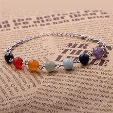 Wholesale Bracelets & Bangles 7 Chakra Bracelets Spiritually Energy 7 Colors Crystal Stone Bracelet For Woman Yoga Jewelry