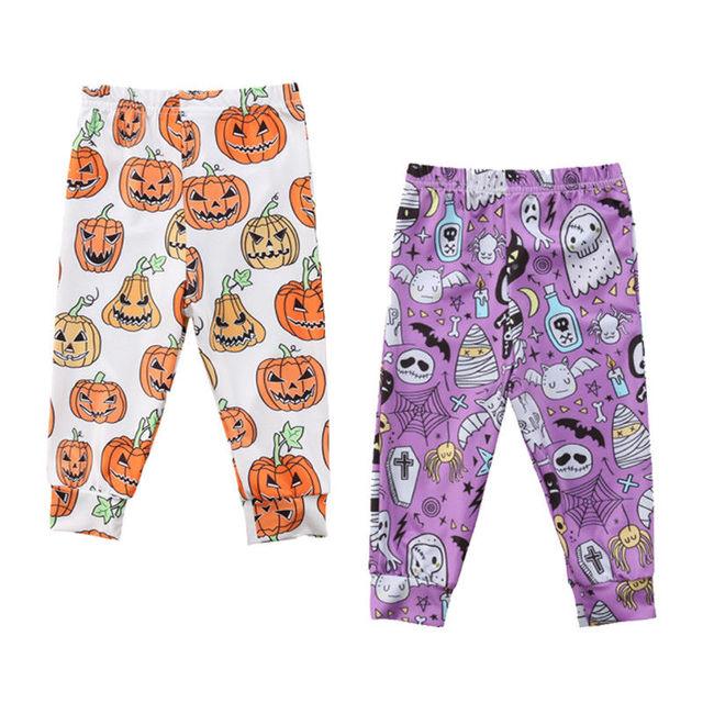 2018 cute newborn toddler baby girls boys halloween print pumpkin ghost pants leggings cartoon bottoms