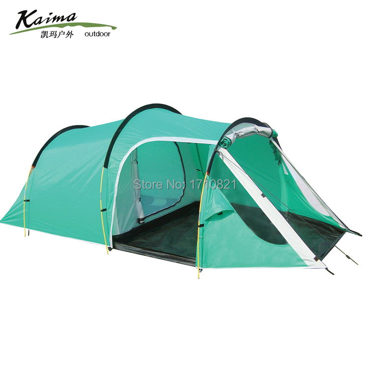 New style!3-4persons one bedroom & one living room double layer family and party camping tent hillman 4 person camping tent with snow skirt double layer aluminum rod large tent one living room one bedroom family waterproof