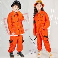 Jazz Costumes Orange Tooling Long Sleeve Jacket Pants Boys Street Dancing Clothes Hip Hop Dance Set Stage Dancewear Kids DN3300