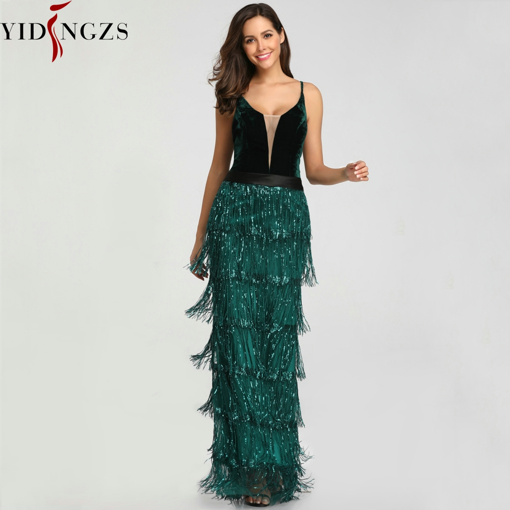 YIDINGZS 2019 Green Sequins Tassel Sexy Long   Prom     Dress   Elegant V-neck Party   Dress