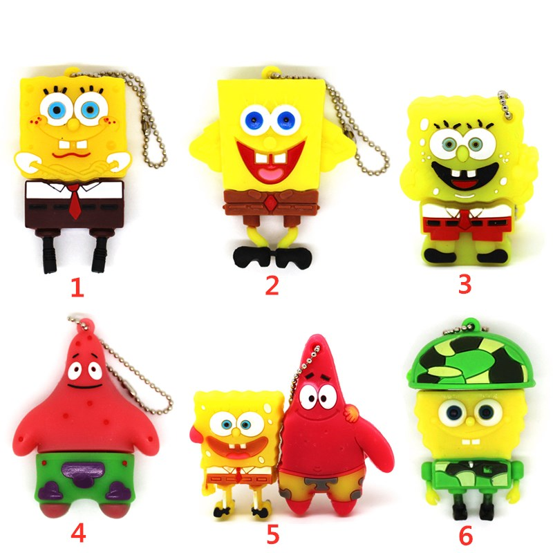 Cartoon Pendrive Lovely Spongebob 4GB 8GB 16GB 32GB 64GB USB Flash Drive Cute Patrick Star Memory Stick 128MB Pen Drive U Disk