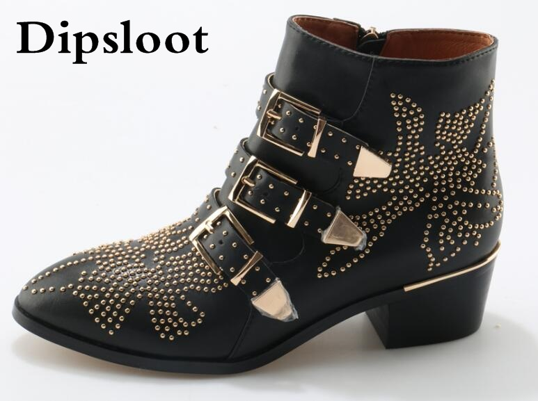 Hot Sale Spike Studded Short Ankle Boots Leather Round Toe Triple Buckle Strap Women Motorcycle Boots Shoes Low Heels Shoes