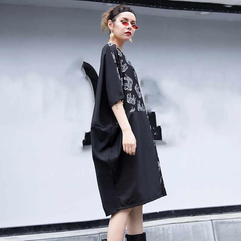 CHICEVER プリント女性のドレスハーフバットウィング膝丈ドレスビッグサイズの女性 O ネックカジュアル服ファッション