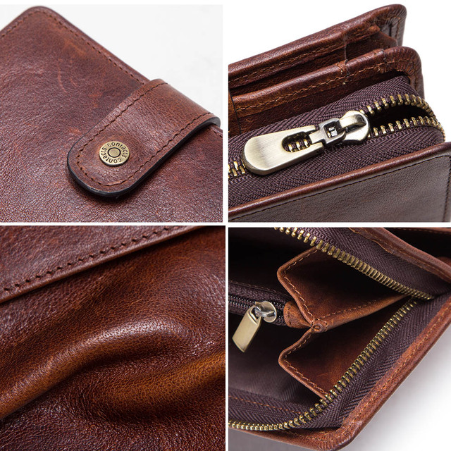 CONTACT'S genuine leather RFID vintage wallet men with coin pocket short wallets small zipper walet with card holders man purse 5