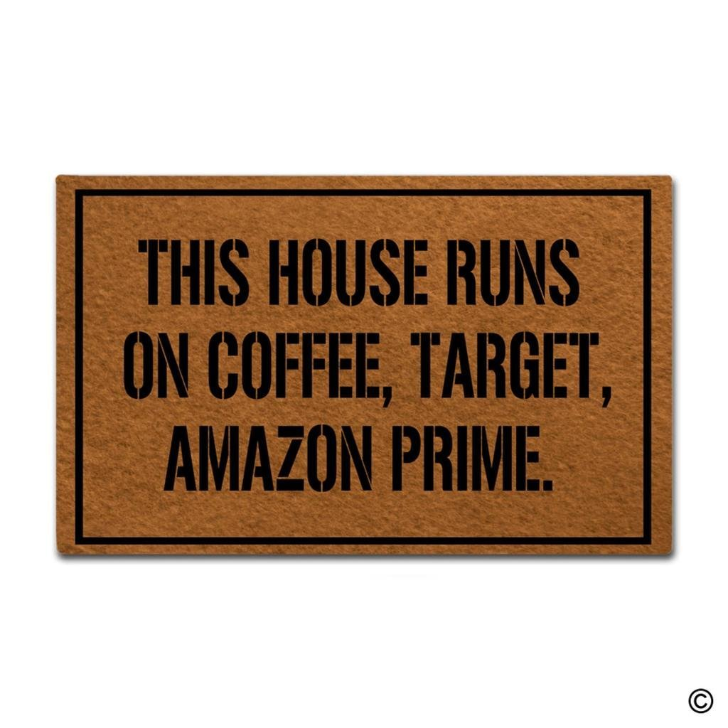 Doormat Welcome Mat This House Runs On Coffee Target Amazon Prime Door Mat Decorative Ho ...