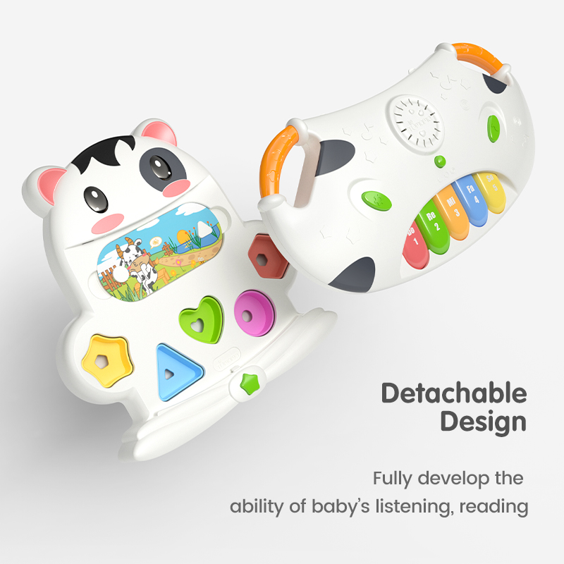 Tumama Baby Musical Piano Animal Cow Electronic Piano Geometric Blocks Sorting Early Educational Toys for Kids Puzzle Gifts