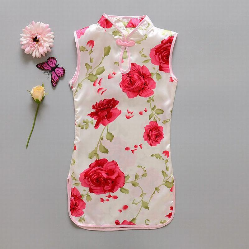 Children Kid Baby Girl Dresses Chinese Style Flower Birds dress/Qipao Clothes Sleeveless Summer Girl's Dress for Party BX024
