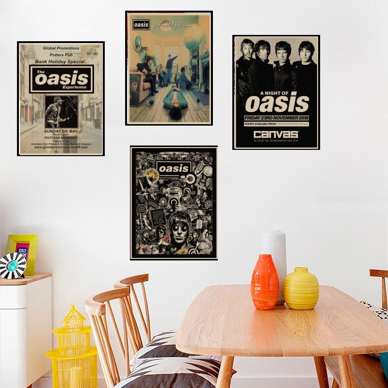 OASIS Rock Music Poster Liam Gallagher Nostalgia Rock Band Music Kraft Paper Poster Bar Cafe Living Room Decorative 25 style