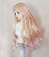 New 22 24cm /17 19cm Gradient color Long curled hair Wig For 1/3 1/4 BJD PULLIP SD MSD DOLLFIE Wig