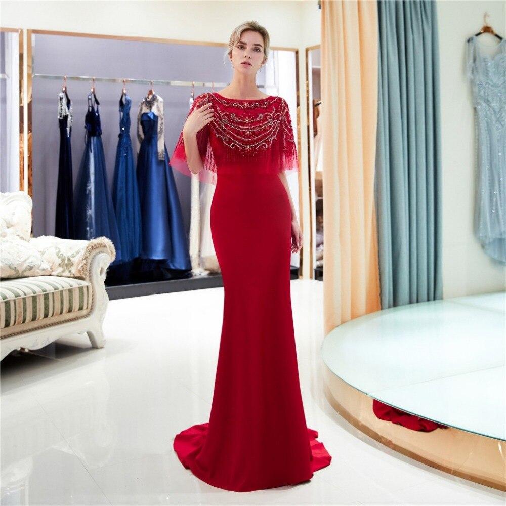 2019 nouvelle robe de bal longue sirène rouge avec perles Top femmes élégante robe de soirée formelle - 2
