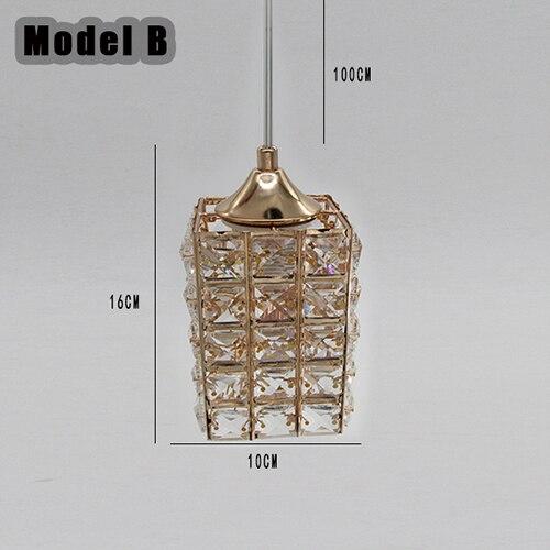 Светодиодный подвесной светильник с кристаллами, лампа для столовой, золотой подвесной светильник, светильник для бара, столовой, подвесной потолочный светильник для кухни(DN-50 - Цвет корпуса: Model B Withou Bulb