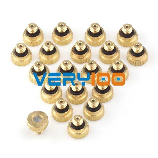 New 20pcs Brass Misting Nozzles for Cooling System with Stainless Steel Orifice 0.15/0.2/0.3/0.4/0.5//0.6/0.8mm Garden 10/24