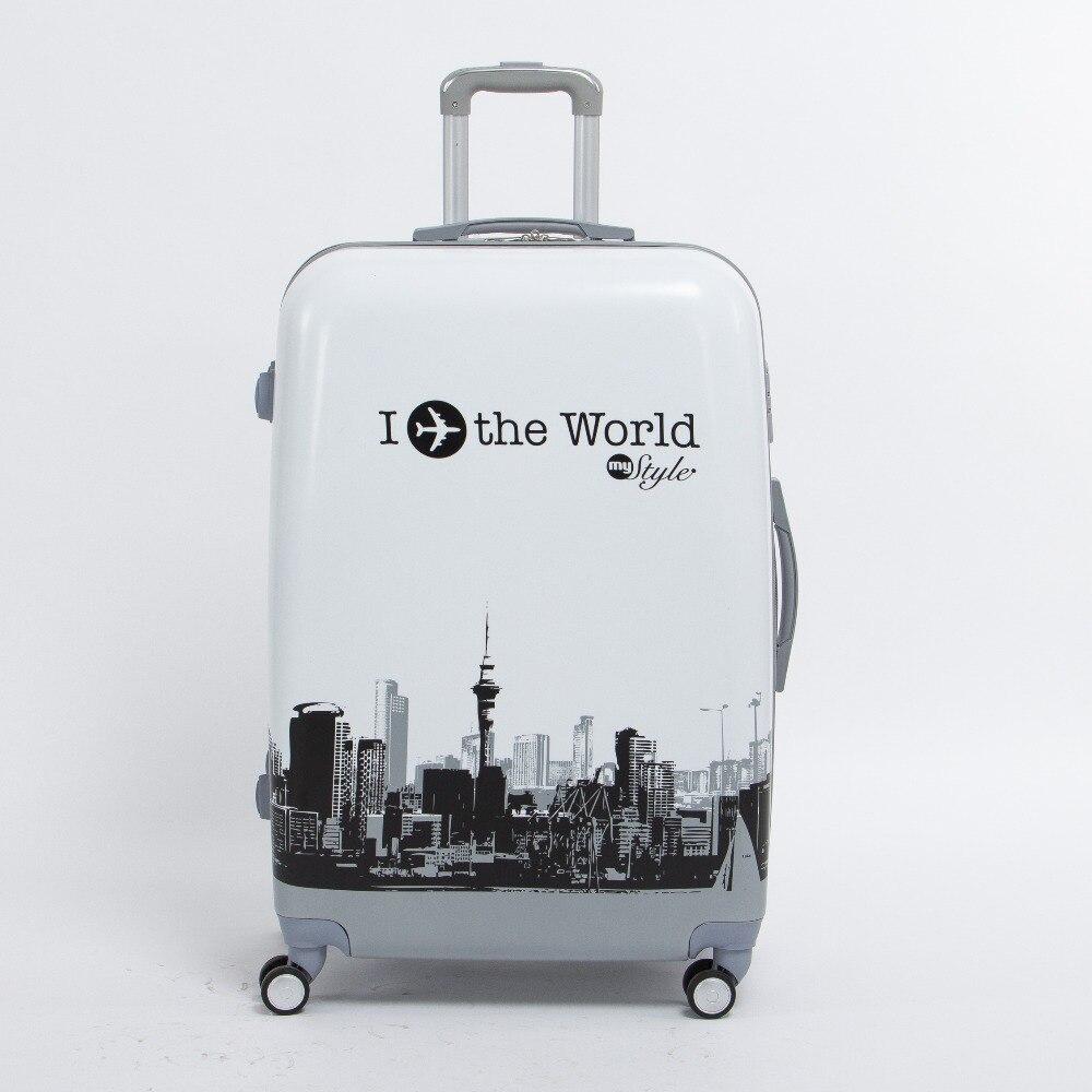 20 дюймов пк багаж на универсальные диски, мире самолет печатных Hardcase багаж