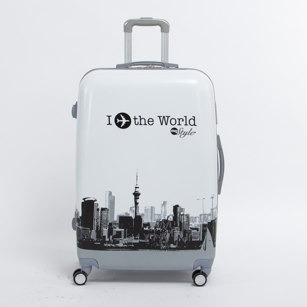 20 inch pc trolley luggage on universal wheels,the world plane printed hardcase travel luggage