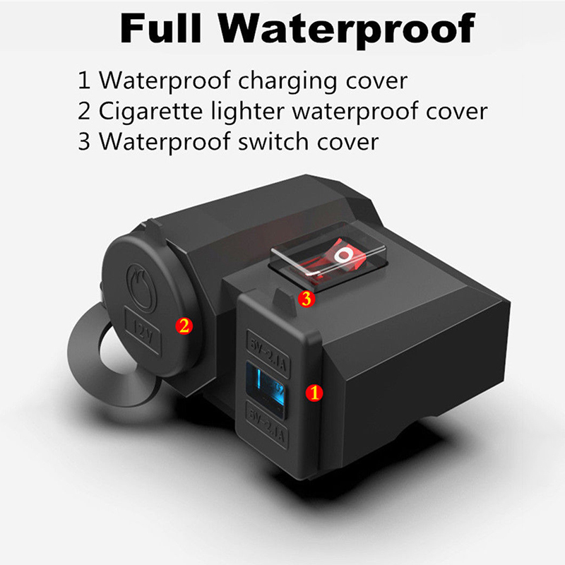 Water-resistant Motorcycle Cigarette Lighter Socket Outlet Dual USB Charger New