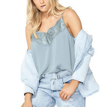 Top 2019 Summer Modern Lady Solid Lace blouse Sleeveless V-Neck Patchwork sky blue Tops Student fashion slim Tank Tops Camis(China)