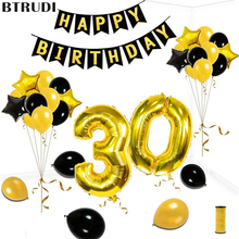 BTRUDI 30/40/50/60/70 Anniversary Balloons gold  Air Balloon Happy Birthday Decoration Adults Aged Wedding Decor Supplies