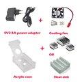 Горячие продажи Ран pi 3 Аксессуары Raspberry Pi 3 Акриловый Чехол + вентилятор Охлаждения + радиатор + 5V2. 5A адаптер Питания Зарядное Устройство с кабель переключателя