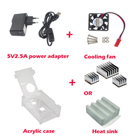 New Arrival Raspberry Pi 3 Accessories Acrylic Case Cooling fan Heat sink 5V2 5A Power Charger