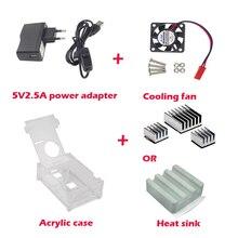Raspberry Pi 3 Модель B Акриловый Чехол + Вентилятор Охлаждения + Радиатор + 5V2. 5A Адаптер Питания Зарядное Устройство с Переключатель Кабель Для Raspberry Pi 2