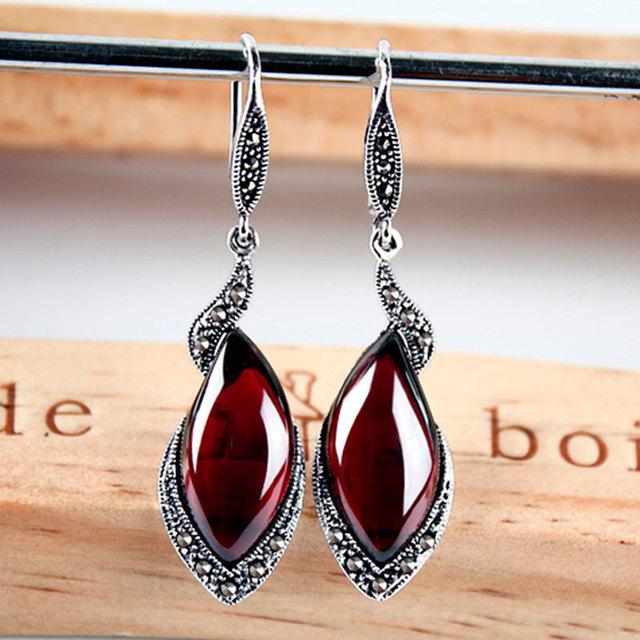 JIASHUNTAI Retro 100% 925 Sterling Silver Earrings For Women Vintage Natural Chalcedony Garnet Gemstone Earrings Jewelry Female