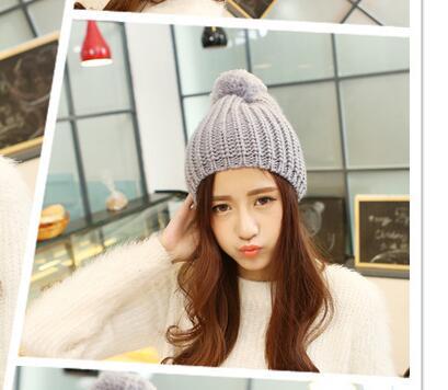 Fashion Women Winter Hat For Women Skullies Beanies Warm Knitted Hat Female Cotton Winter Cap Wholesale