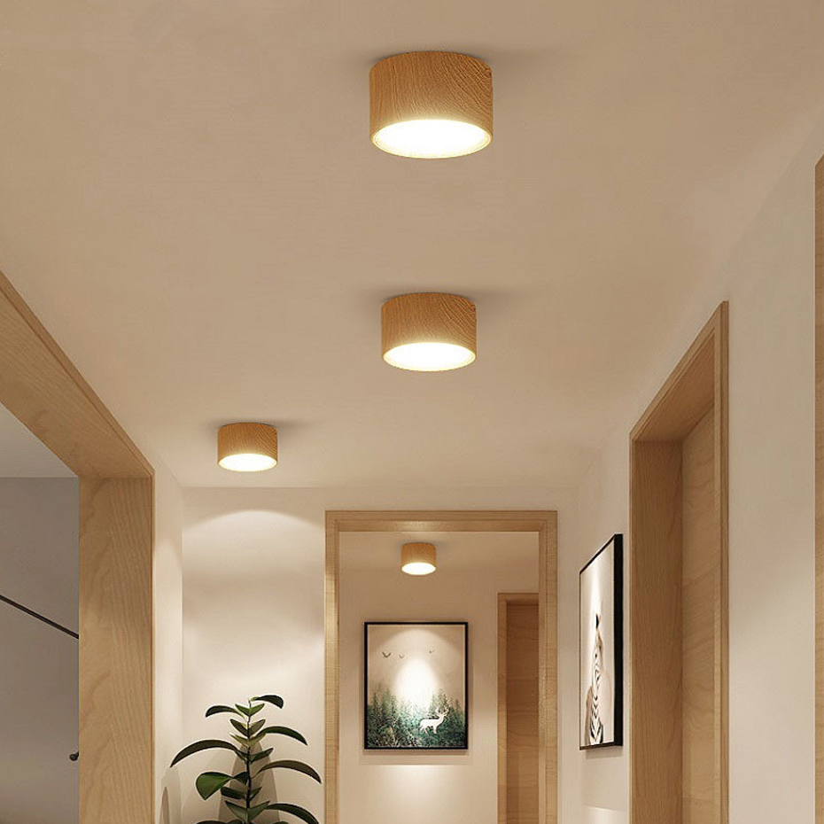 [DBF]High Bright Epistar CREE Ceiling Lights 3W 5W 7W 10W 12W 15W Nordic Wood Surface Mounted Ceiling Spot Light for Bar Kitchen