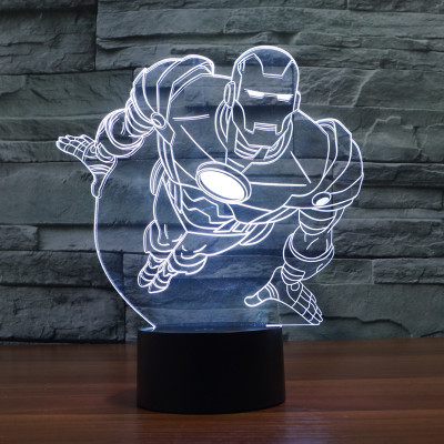 Hot NEW 7color changing 3D Bulbing Light Flying Iron man illusion LED lamp creative action figure toy Christmas gift